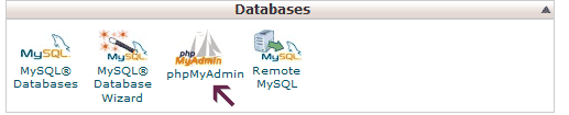 Database Section in phpmyadmin