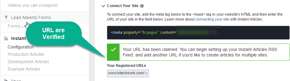 Verify URL for facebook