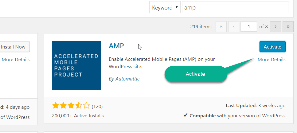 activate AMP plugin on wordpress