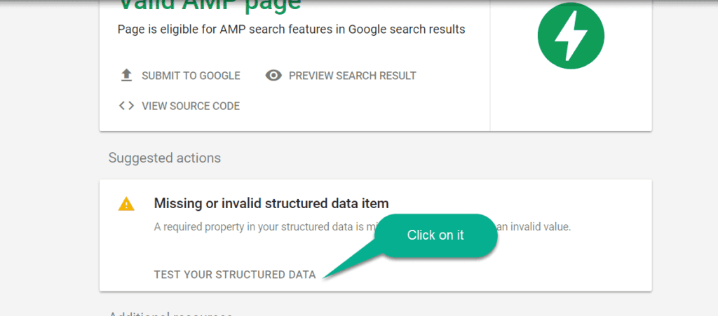 html error on google amp test