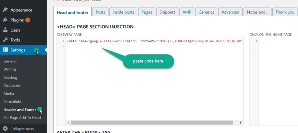 paste meta tag code in the head of the website