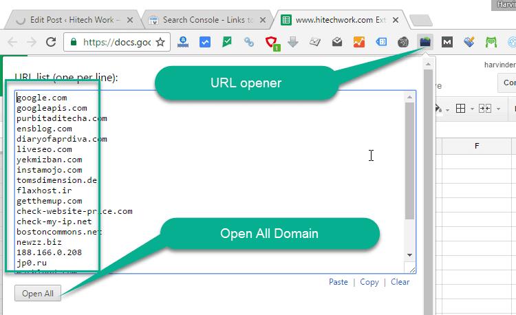 URL opener chrome extension