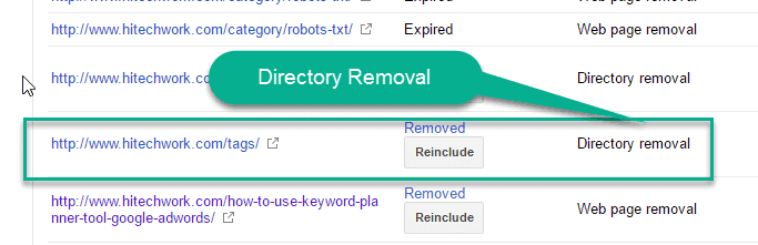Status of Directory removal request