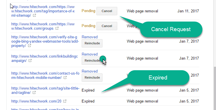 Removed page list in webmaster tool