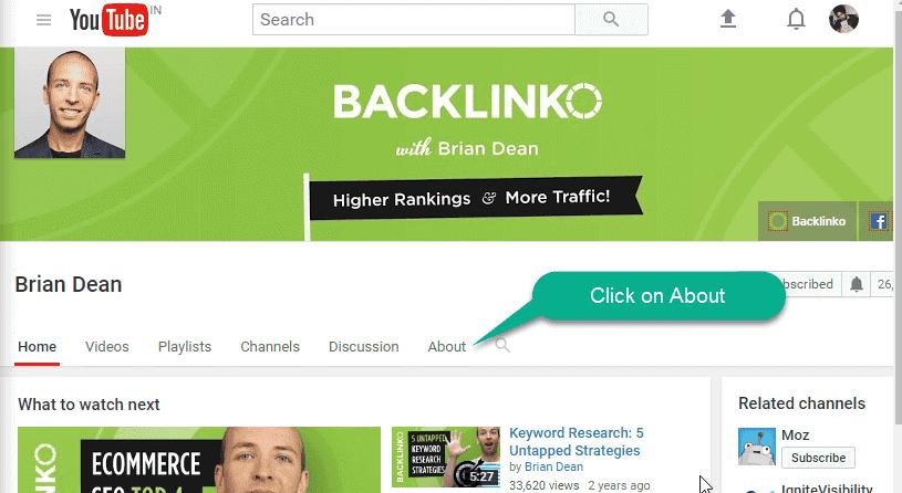 Youtube channel of backlinko