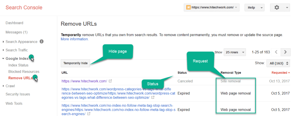 Google URL removal tool option in webmaster tool