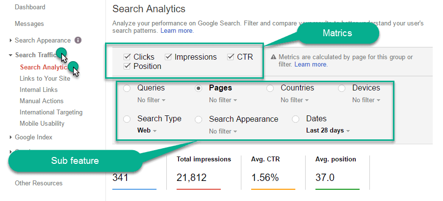 Search Analytics Report sub parts show in webmaster tool
