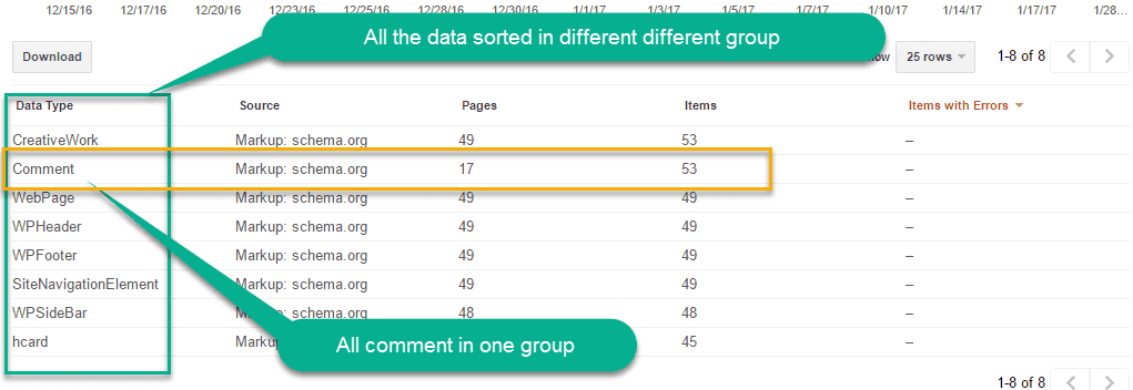structure data of comment in webmaster