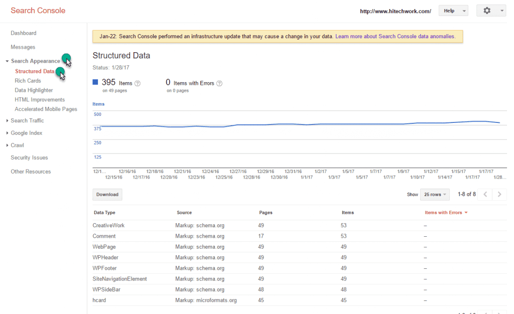 structured data markup option in webmaster tool