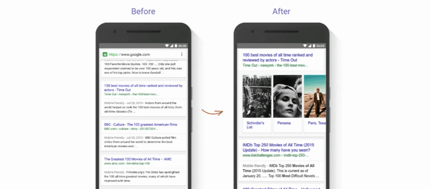 Old and New Search in google;e mobile