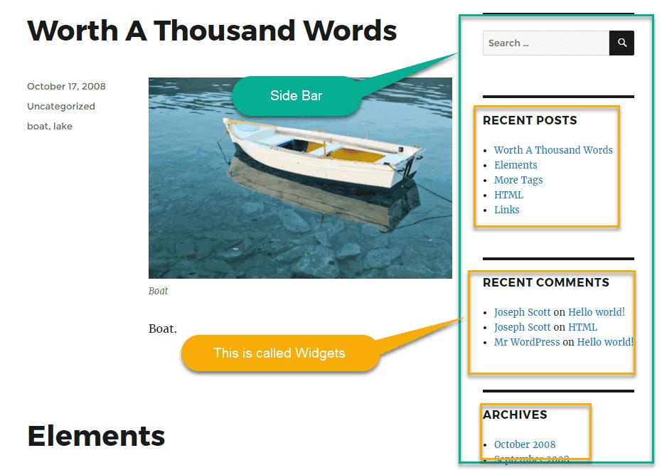 defalut wordpress theme widgets