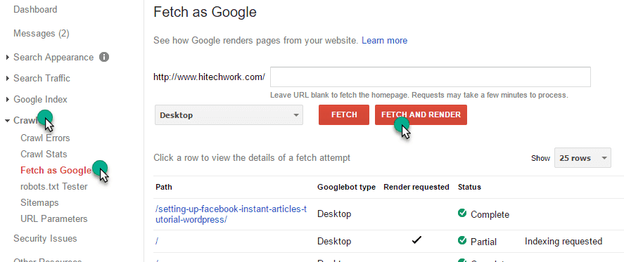 Fetch As Render option in google webmaster tool