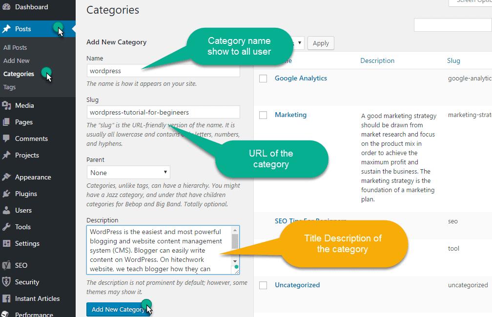 add a new category in wordpress