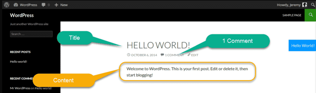 wordpress default post on home page