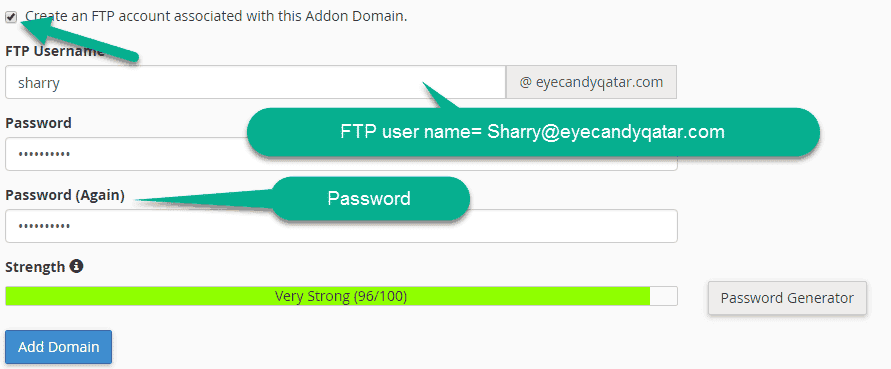 Create FTP Account in cpanel for domain