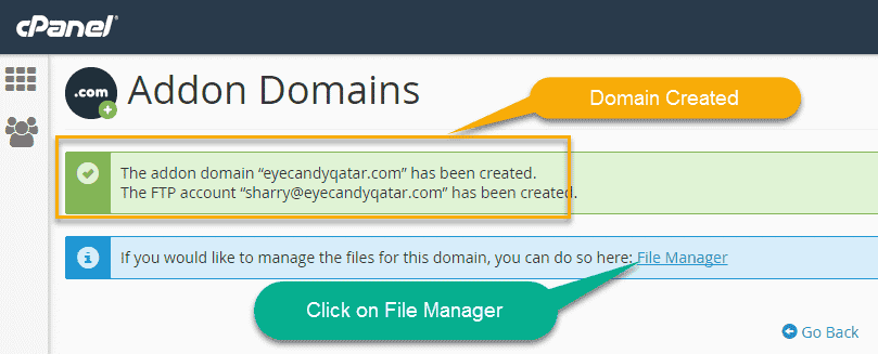 Domain Added To small Orange cpanel
