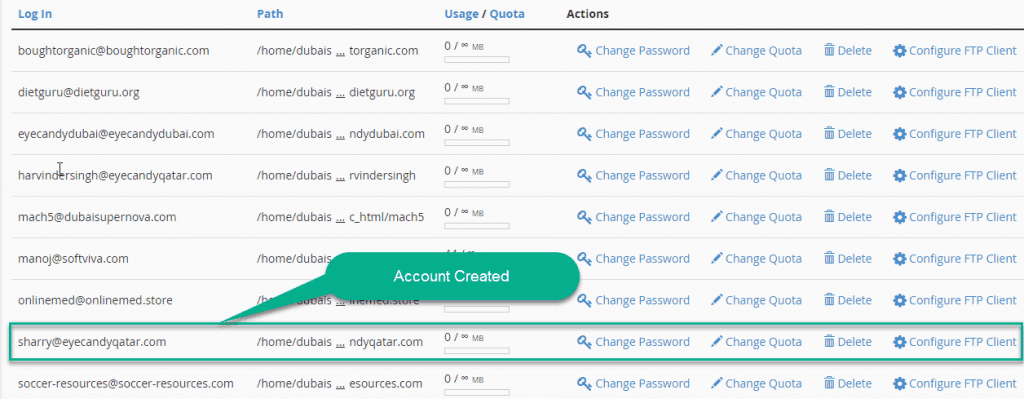 FTP Account created in cpanel