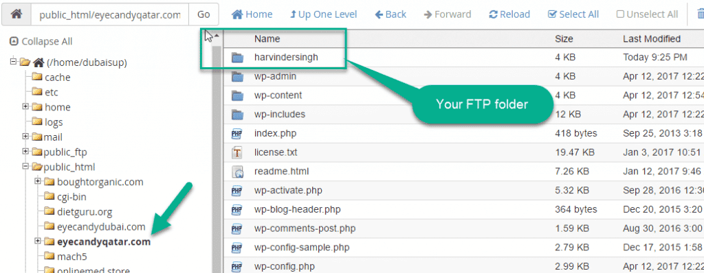 FTP Folder In file Manger in cpanel