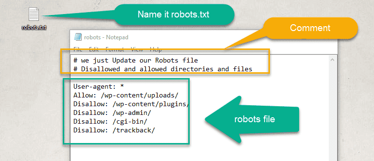 write robots command in text file