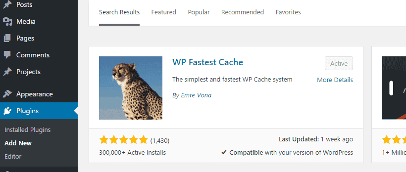 Activate the Wp faster cache plugin