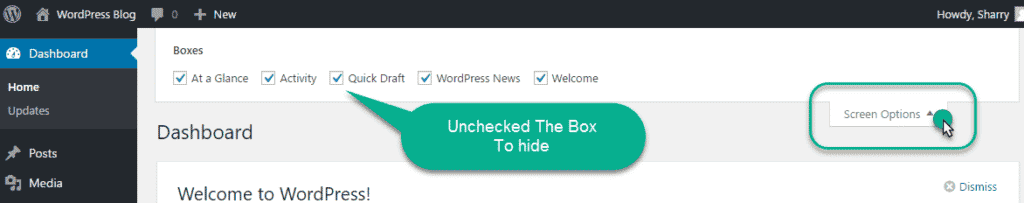 Click on screem Option in the wordpress