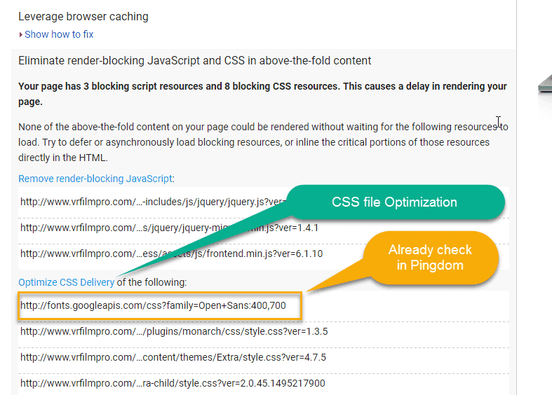 Css optimization by google page speed