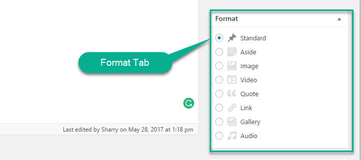 Format Tab in wordpress