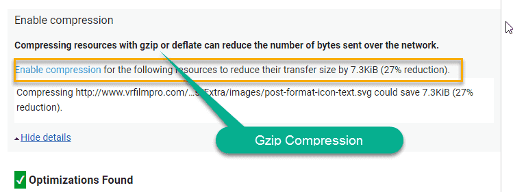Gzip compression enable check in google page speed test