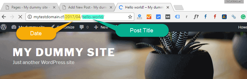 date in the URL in wordpress