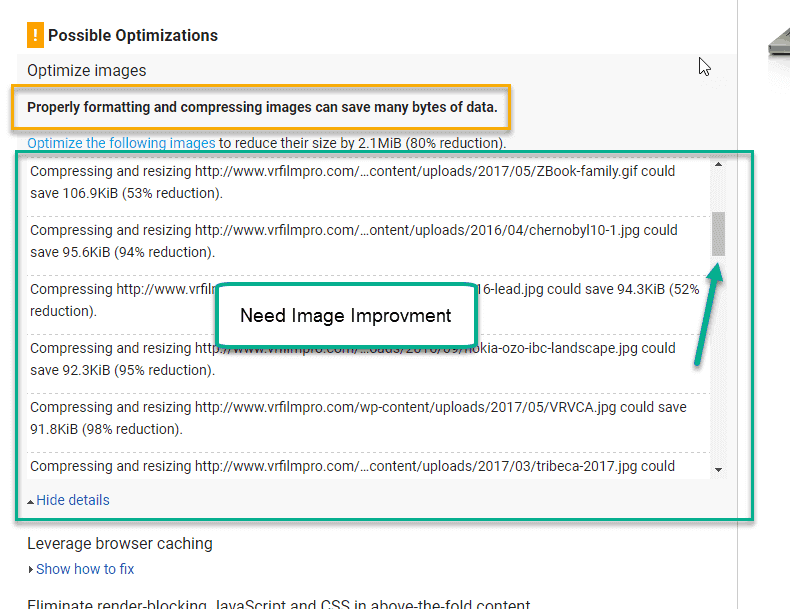 need attention on image in google page speed tool