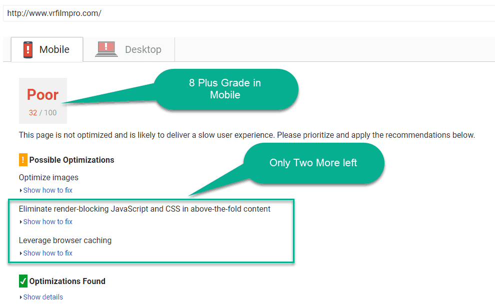only 3 option left in google page speed test