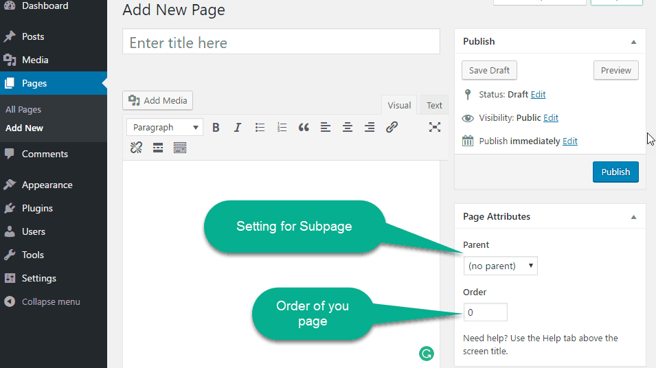page artibute in the page editor wordpress