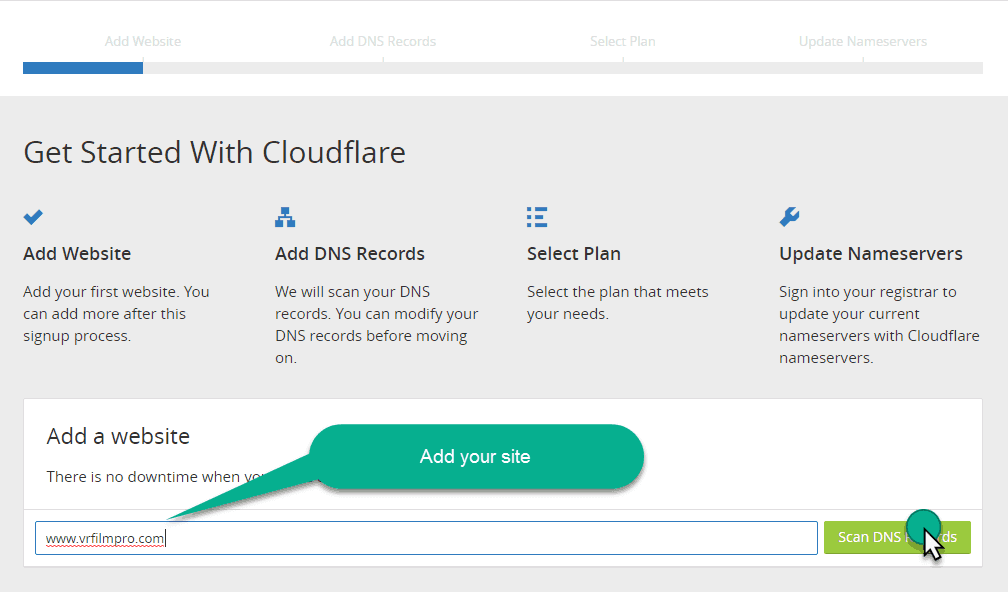 add your domain in the cloudfare