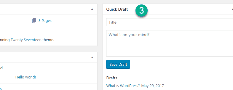quick draft option in wordpress