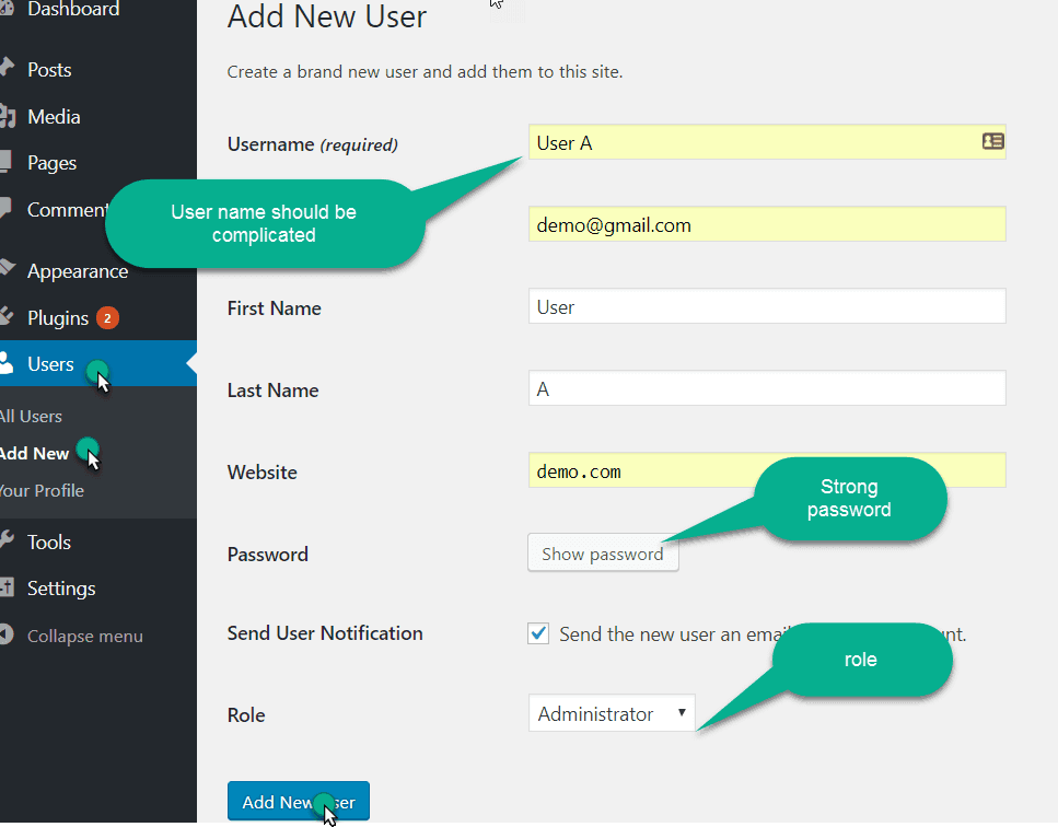 Add New User in wordpress manually
