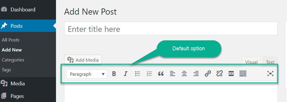 default editing option in wordpress