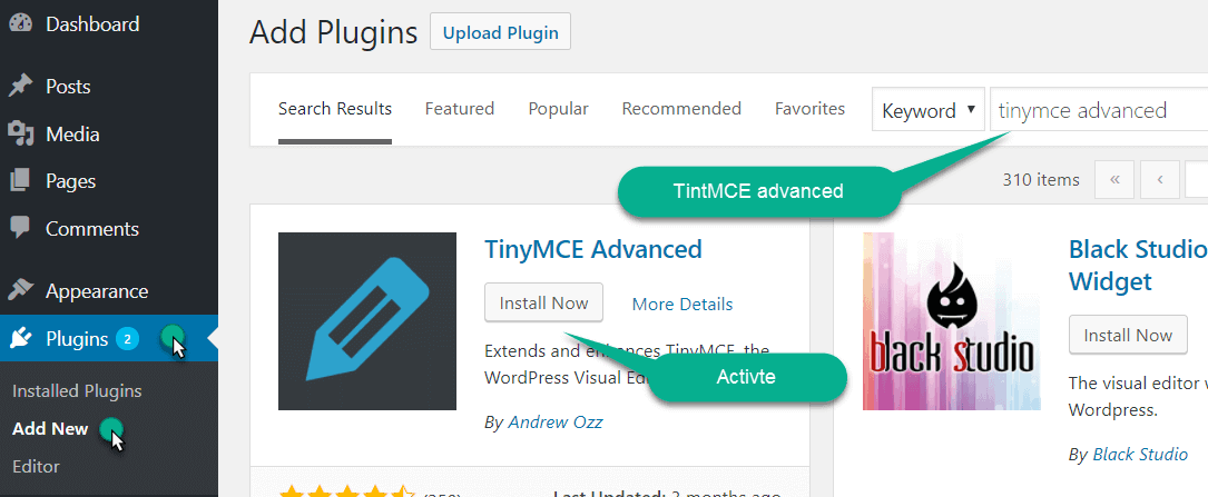 install and activate the TinyMCE advanced plugin