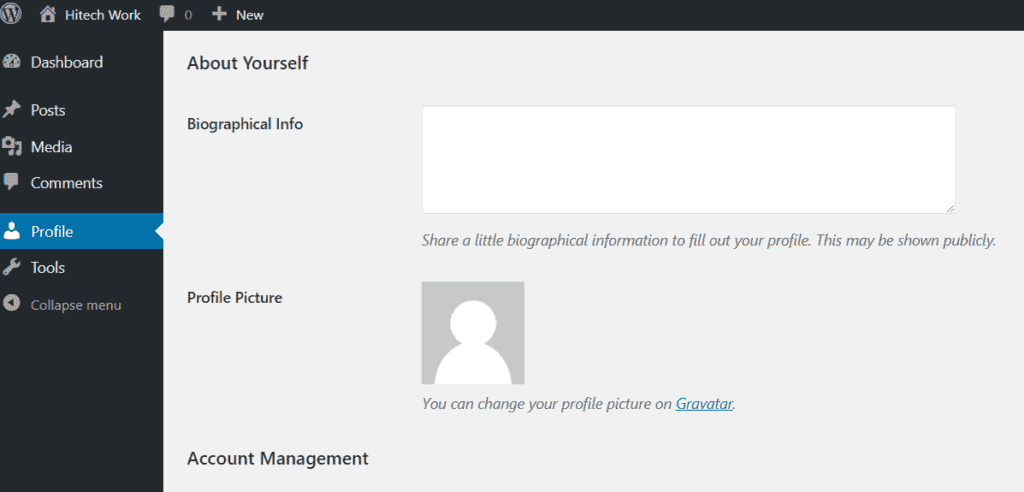 Update user profile in the wordpress