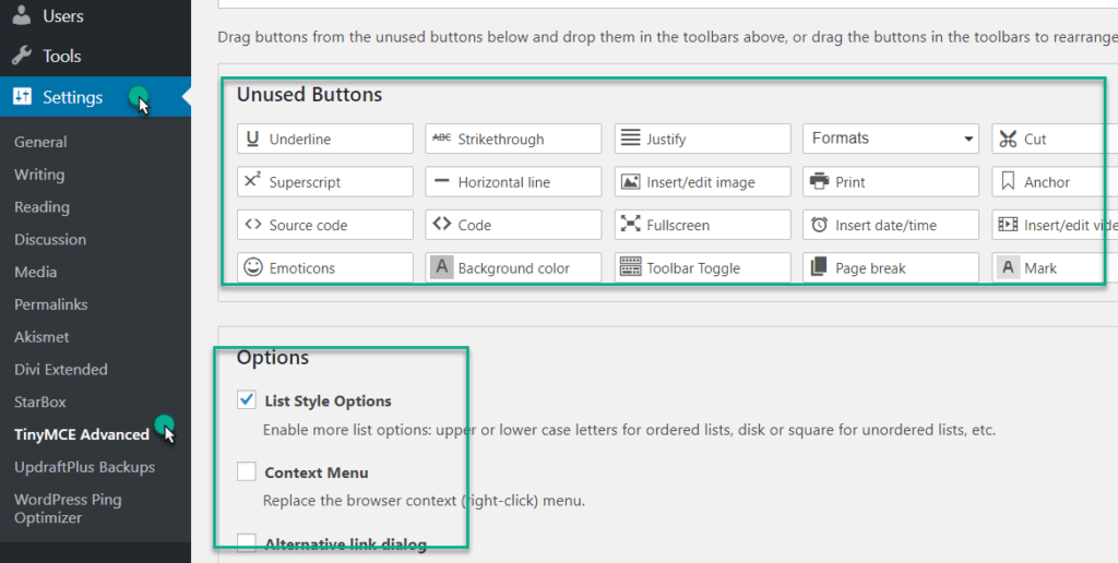 TinyMCE advanced option under setting in wordpress