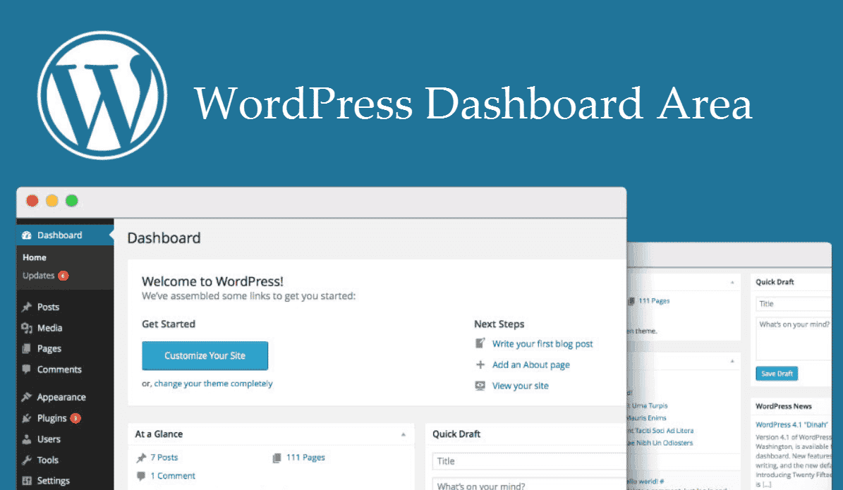 WordPress Dashboard Area