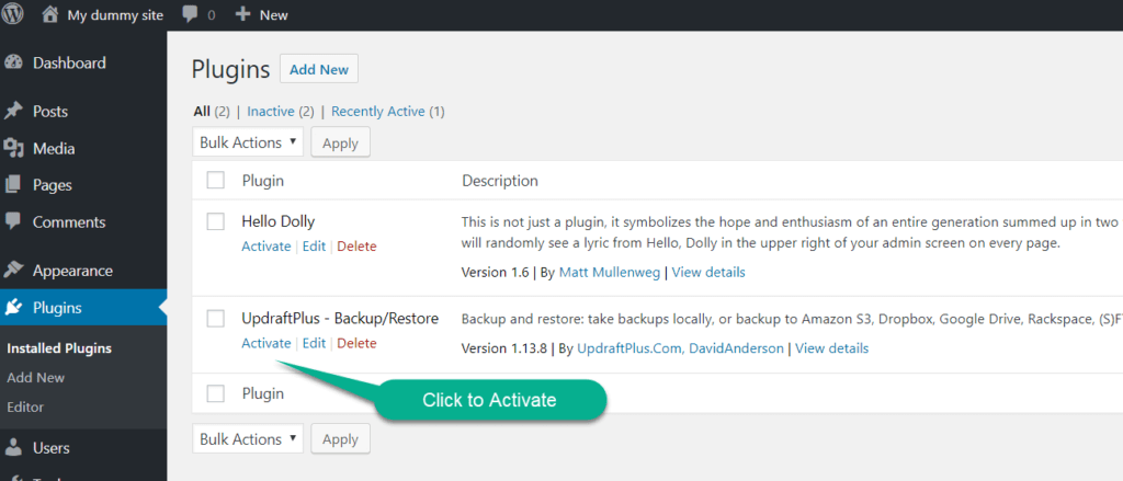 activate or delete the plugin in wordpress