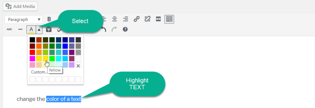 change the text color in wordpress post editor toolbar