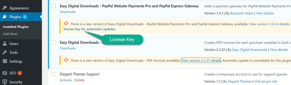 need license key to update plugin. in wordpress