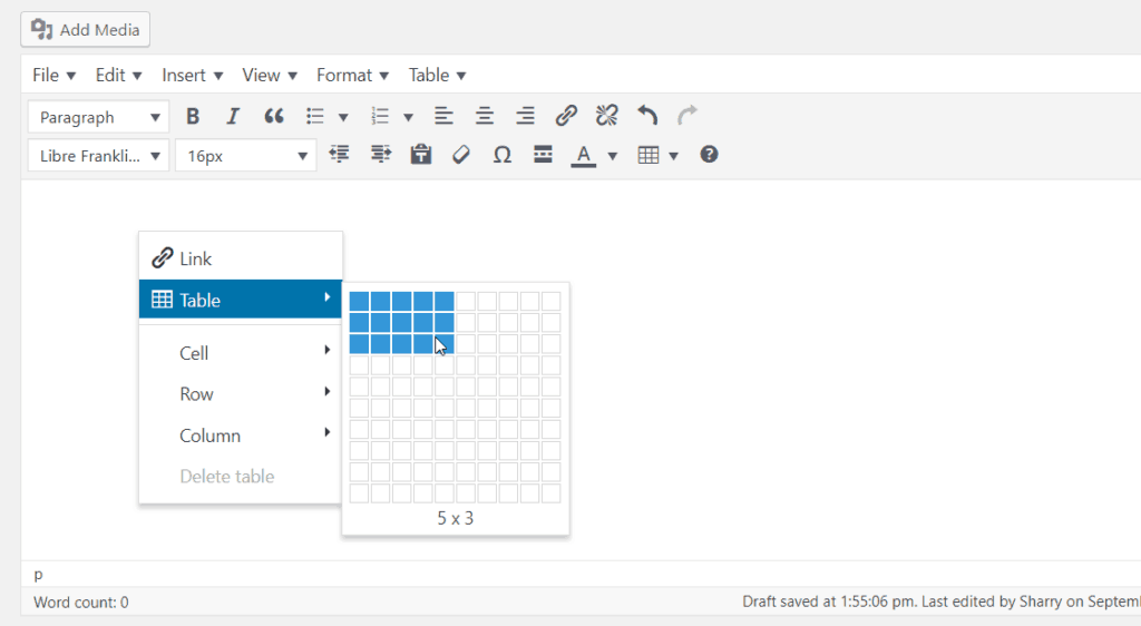 right click control on text post editor