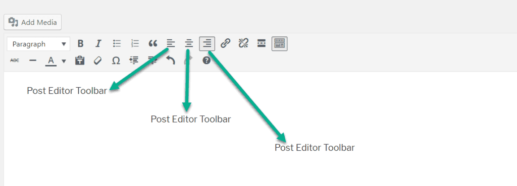 test alignment option in wordpress post editor