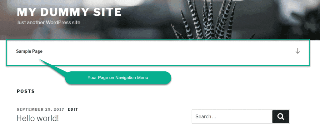 Your Page on Navigation Menu wordpress