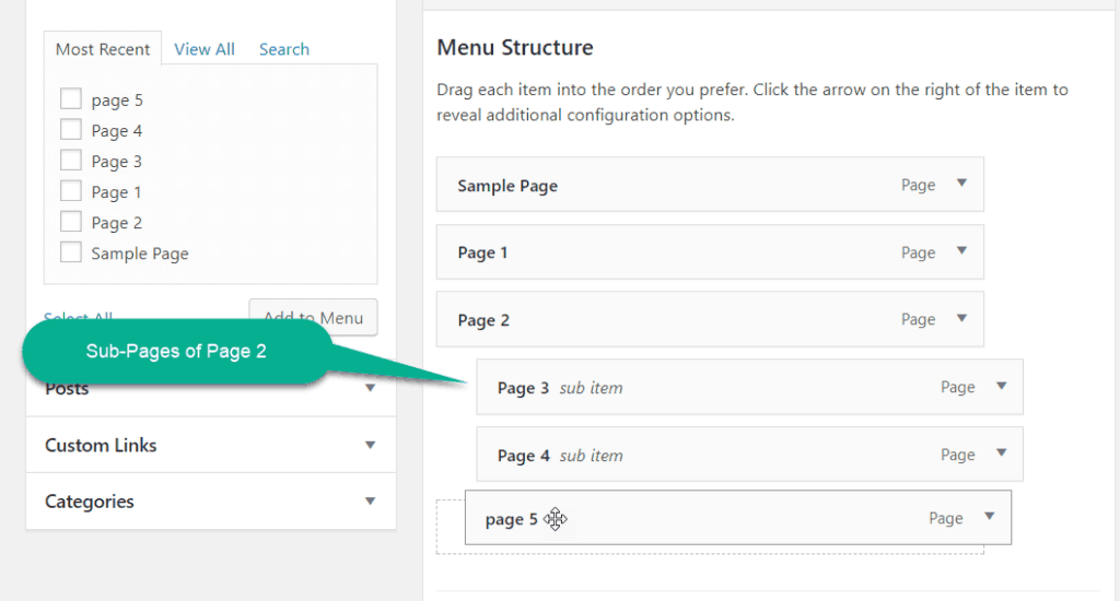 Sub-level menu in wordpress