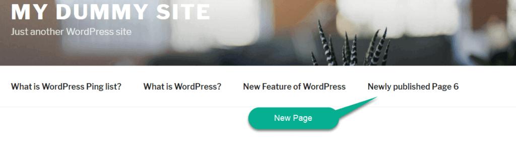 automatically add new page in wordpress menu