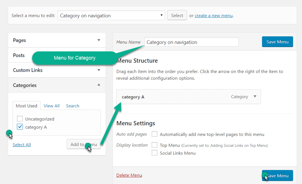 add category in the navigation menu